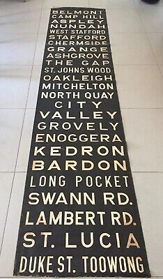 Vintage Original Canvas Bus Destination Roll Brisbane Destinations