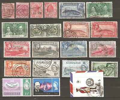 Gibraltar: A Selection of Twenty Two Mint and Majority Used Stamps