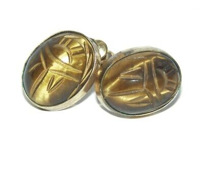 Vintage Art Deco Egyptian Revival 12k Rolled gold Scarab screw on earrings