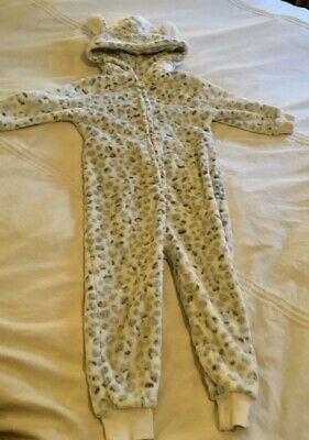 Girls NEXT leopard print fleece one-piece sleepsuit (Age 3 years)