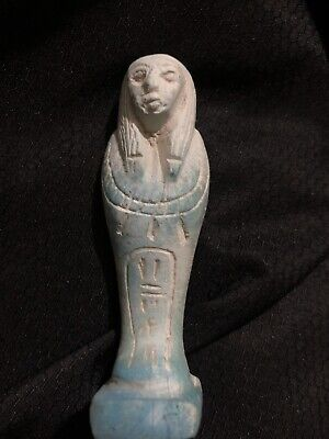 Rare Ancient Egyptian Faience Shabti With Kartouch On The front (945-715 BC.)