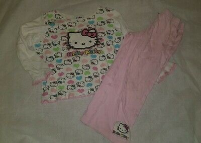 Gorgous pink HELLO  KITTY @ TU top trousers pyjama set Age 5 6 Years