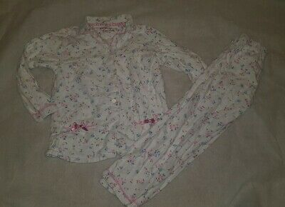 Gorgous white floral PRIMARK top trousers pyjama set Age 5 6 Years