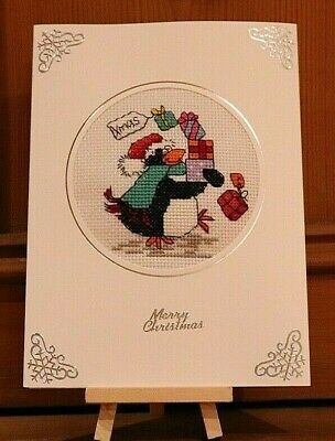 "Handmade Completed Cross Stitch Christmas Card Pile of Presents Penguin 8""x6"""