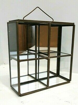 Small Mirrored Glass And Brass Display Shelf Jewellery Or Curios Wall Hanging