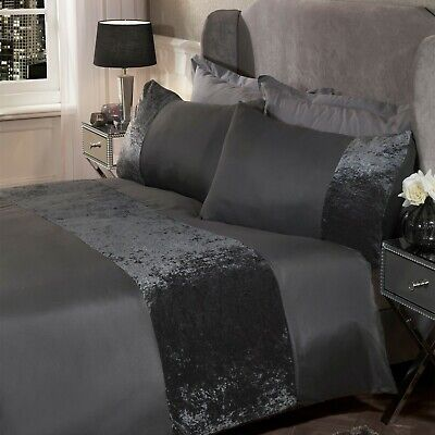 Sienna Crushed Velvet Panel Duvet Set, Charcoal Grey-Double