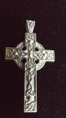 925 Large Sterling Cross Sterling Necklace Celtic Irish Vintage Antique Pendant
