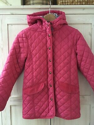 Girls Joules Age 11 - 12 Quilted Pink Marcotte Coat Jacket Floral Print Hooded
