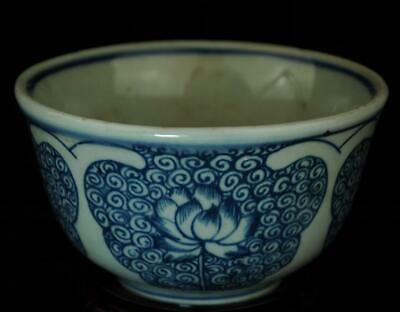 chinese old blue and white porcelain hand painted lotus ruyi bowl /Db01J