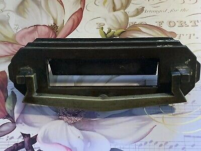 Art Deco 1920s Brass Letterbox Door Knocker Mail Slot Architectural Salvage