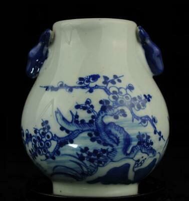 china old blue white porcelain hand painted plum blossom sheep statue vase/Db01J