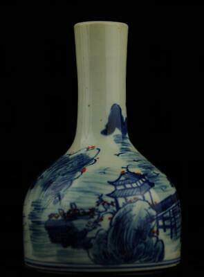 china old blue and white porcelain underglaze red landscape painting vase /Db01J