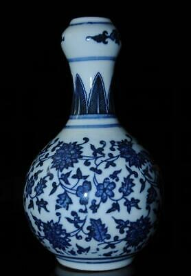 China old QianLong Mark blue and white porcelain hand-made Garlic vase/Db01J