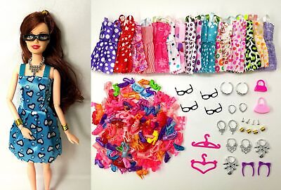 40 Pack Barbie Doll Clothes Party Gown Outfits Shoes Glasses Necklaces for Girls