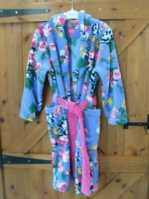 Girls Joules Purple Floral Dressing Gown Age 9 - 10 Years Very Good Condition