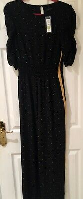 Marks & Spencer Black & Gold Star Print Jumpsuit Size 12R RRP £39.50 Sold Out!