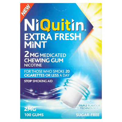 Niquitin Gum 2mg - 100 Medicated Gums  -Extra Fresh Mint - Sugare Free BBE 09/19