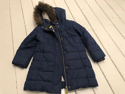 Mini boden girls navy long fur lined padded coat with hood - age 4-5 years