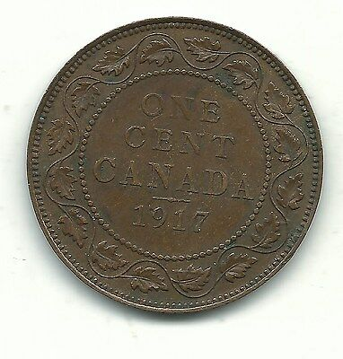 A Very Nice Vintage High Grade 1917 Canadian Canada Large One Cent-Sep631