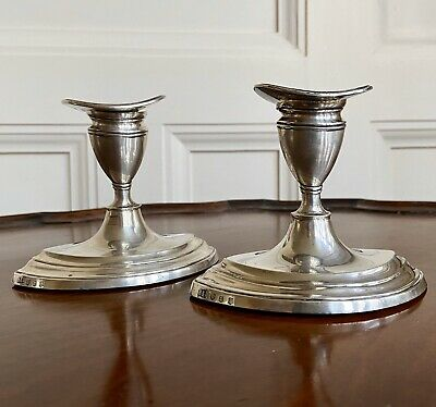 A Pair Scottish George III Style Silver Candlesticks, Edinburgh 1907. 9.2cm High