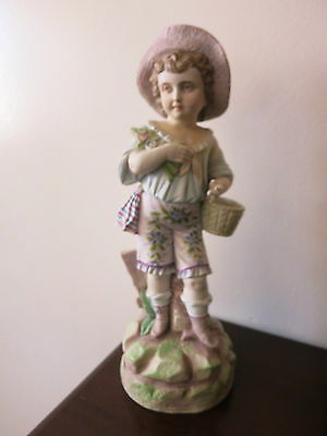 "Antique German  Hand Painted Bisque Rudolstadt Rustic Romantic Figurine 13"" Tall"