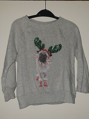 Next Girls Grey Christmas Pug Sweatshirt/ Jumper Age 3 Years