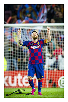 Lionel Messi Signed A4 Autograph Photo Print Football Barcelona