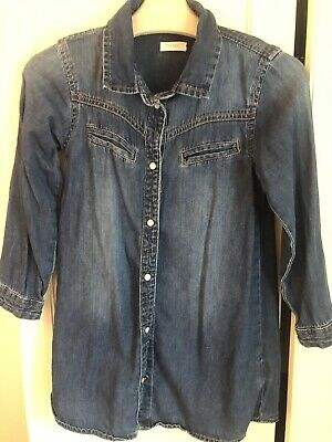 BNWT Next Girls Denim Long Sleeved Shirt Dress Age 4-5 Years