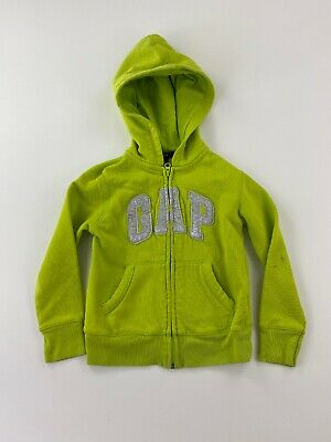 GAP KIDS - Girls Size Small 6/7 - Full Zip Hoodie, Neon Green / Glittery Silver