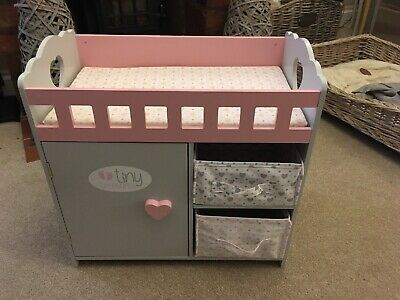 Chad Valley Tiny Treasures Cot Changing Unit Doll Bed Wardrobe