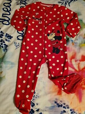 New Disney Baby Girl 0-3-6 12-18 months Cotton Minne Mouse Sleepsuit//Babygrow