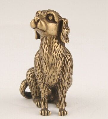 Retro Chinese Bronze Statue Animal Dogs Solid Mascot Christmas Gift
