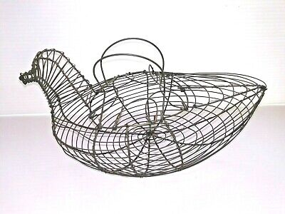 Vintage Wire Chicken Hen Metal Basket Egg Collecting Farmhouse Country Primitive