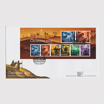 2019 Christmas Miniature Sheet First Day Cover (FDC) - Ellesmere Postmark