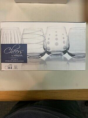 Mikasa Cheers Glass Set of Four Stemless Wine Glasses 14oz New