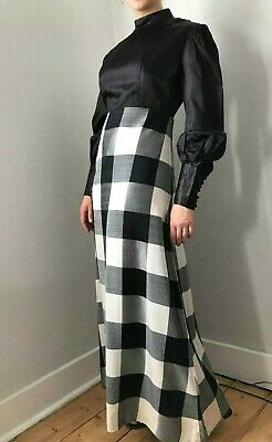 VINTAGE 70s 60s maxi dress in black and white check party occasion prairie UK M