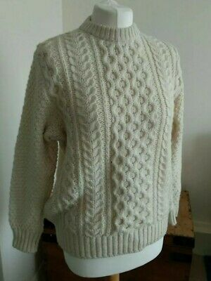 """Vintage 100% Wool Aran Jumper St Michael Size 10-12-14 to fit 36"""" Chest"""
