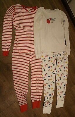 Mini BODEN girls 2x pairs pyjamas/PJs Christmas robin and striped aged 13 years