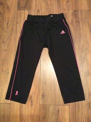 Girls Adidas Clima365 3/4 Length Leggings Black With Pink Stripe Age 14