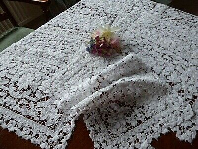 Vintage Embroidered Linen Placemats X 10.Exquisite White Lace Openwork