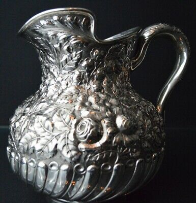 Gorham Sterling Silver Repousse Water Pitcher, circa 1892
