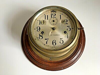 Antique Vintage Brass Ships Clock by Seth Thomas USA -  Marine Ship's Clock
