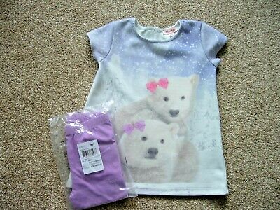 Debenhams Long Polar Bear Xmas Top 3-4 Years & Bnwt Mauve Leggings 4 Yrs C/Place