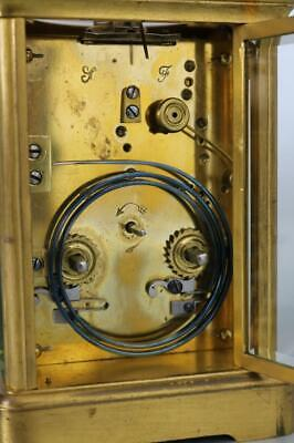 ANTIQUE GONG STRIKING FRENCH CARRIAGE CLOCK 2 train GOOD WORKING ORDER original