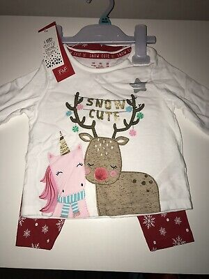 Girls Bnwt Christmas Pjs Pyjamas 9-12 Months