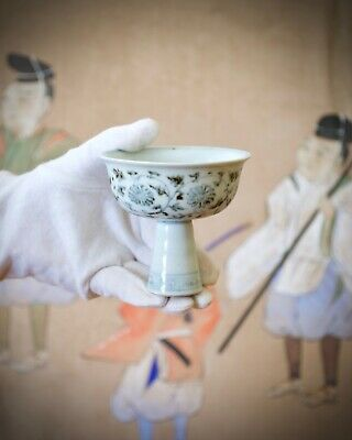 Chinese Antique Blue White Porcelain Floral 'Crysanthium' Stem Cup, Qing dynasty