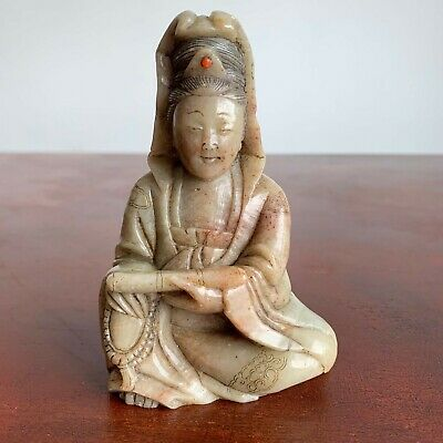 Chinese Antique Carved & Gilded Soapstone Figure of Guanyin, Qing dynasty 18th C
