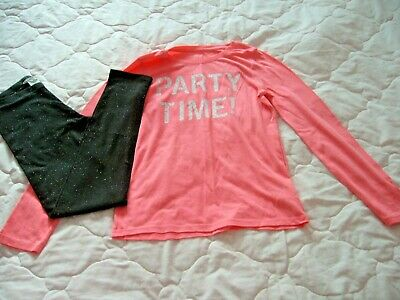 Gap L/S Pink 'Party Time' 10-11 Years & H&M Black Sparkly Leggings