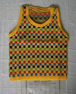 Vintage Tank Top - Age 10 Years - Yellow/Multi Squares - Acrylic - Danish - New