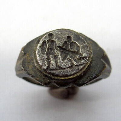 Roman Ancient Artifact Bronze And Silver Ring With Gladiator Battle Scene